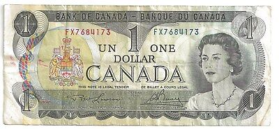 Canada 1 Dollar  A 1973 Young Queen Ship  Canadian Paper Money Bank Note
