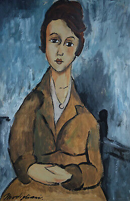 Fine museum Modernist unique French original oil portrait painting, Signed