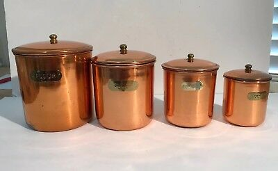 Vintage Copper Stainless Steel Canister Set 4 pc Nesting Flour Sugar Coffee Tea