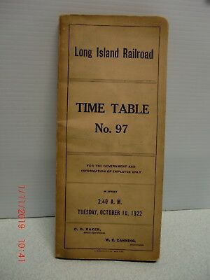 1922 Long Island Railroad Time Table No. 97 for employees