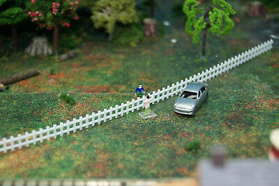 """3 pieces of 8"""" long N Scale White Picket Fence Flexible Easy Cut Plastic"""