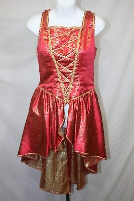 Red & Gold Over Dress & Headress Ballet Costume Halloween Dance Recital