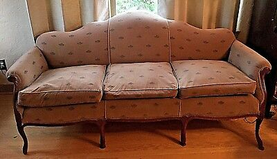 Vintage 1940s Camelback Sofa w/ Mahoghany wood PRICE REDUCED Local p/u Eugene OR