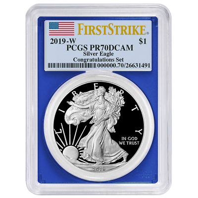 2019-W Proof $1 American Silver Eagle Congratulations Set PCGS PR70DCAM First St
