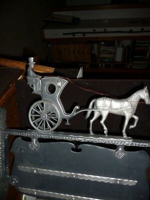 Vintage Horse Drawn Carriage Address Sign | Cast Aluminum | NM