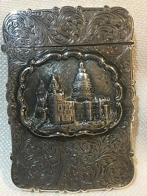 Rare Antique Sterling Card Case Westminister Palace London In High Relief