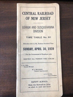 April 30,1939 Central Railroad Of New Jersey L&s Div Employee Timetable #81