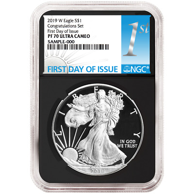 2019-W Proof $1 American Silver Eagle Congratulations Set NGC PF70UC FDI First L