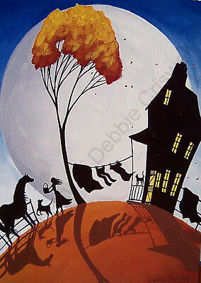 Horse Farm girl cat dog whimsy moon art Giclee ACEO print of painting Criswell