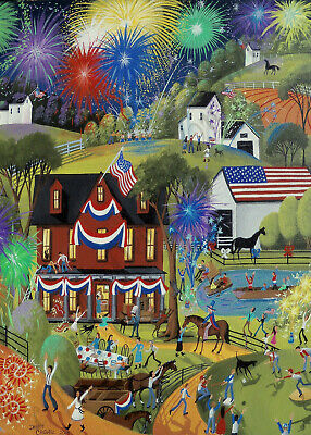 Fourth 4th of July fireworks American art Giclee ACEO print of painting Criswell