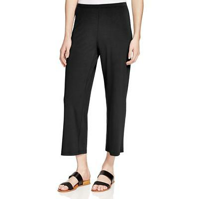 NWT Eileen Fisher Womens Black Washable Crepe Straight Cropped Pants PL $158