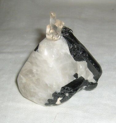Vintage Chinese Black Tourmaline & Quartz Snuff Bottle W/ Semi-Precious Ornament