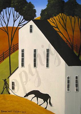 Horse leading farmer country house Giclee art Criswell ACEO print of painting