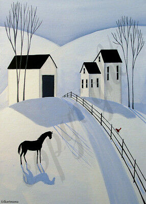 Horse snow winter cardinal landscape Giclee art ACEO print of painting Criswell