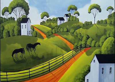 Landscape horses farmhouse decor farm Giclee art ACEO print of painting Criswell