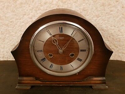 Vintage Smiths Enfield Mantel Clock With Key and Pendulum - Working