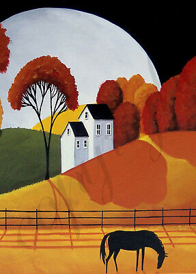 Landscape Autumn horse night moon Giclee art ACEO print of painting Criswell