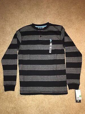 NWT - US Polo Assn Long Sleeve Henley Shirt: Boys gray & Black Large (14-16)