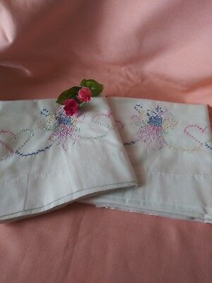 Vintage Pair of Cross Stitched Pink & Blue Florals & Hearts Pillowcases