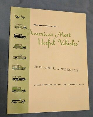 RARE 1949 Willys Jeep Brochure America's Most Useful Vehicles 21pg Book Phaeton