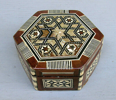 Vntg Islamic Inlaid Mother Of Pearl Hexagonal Wood Trinket/jewelry Box