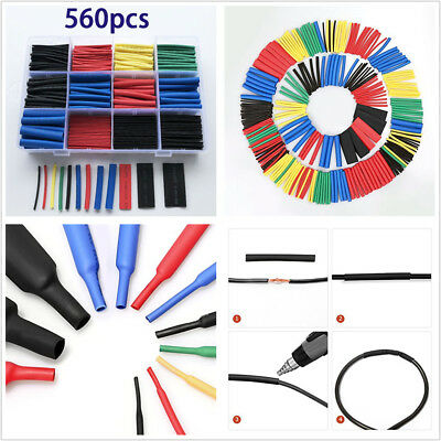 560x Insulation Heat Shrink Tubing 2:1 Electrical Wire Cable Wrap Assortment Kit