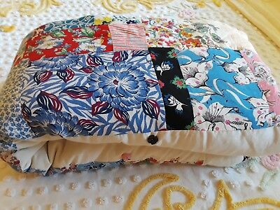 """Vtg Patchwork Quilt Flour Sack Fabric With Muslin 95"""" Square XLNT"""