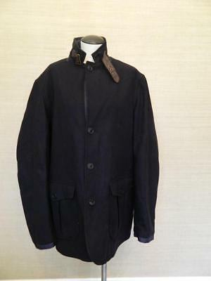 $449 Mens JCrew Barbour Collaboration Barkston Jacket Navy Blue L wool b0864