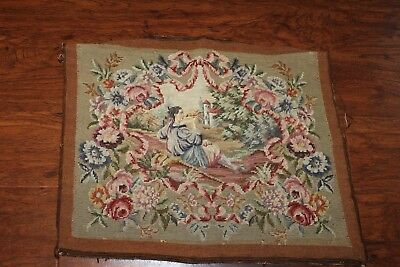 Antique / Vtg Needlepoint  Tapestry Piece 24X20In
