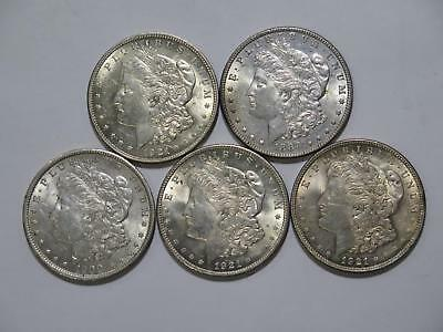 5- Morgan Dollars $1 90% Junk Silver Type U.s. Mint Mixed Coin Collection Lot
