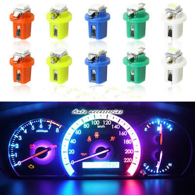 10x T5 B8.5D 5050 LED 1 SMD Indicator Dash Board Side Interior Light Bulb Color