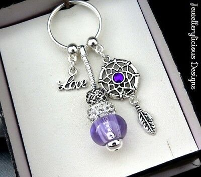 Beautiful Purple LOVE Dream Catcher Sparkling Crystal Keyring Key Ring Valentine