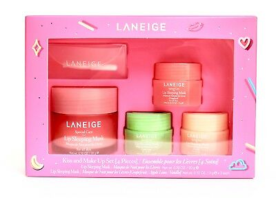 LANEIGE Kiss & Makeup Set 4 PIECE LIP SLEEPING MASK NEW BOXED FREE SHIP FROM USA