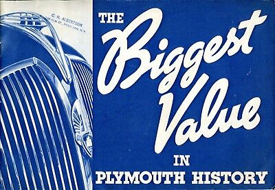 Vintage 1937 Plymouth De Luxe Advertising Brochure * The Biggest Value