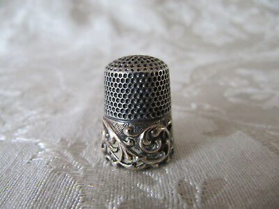 Antique Ketcham & McDougall 14k Gold Band & Sterling Silver Thimble Scrolls #9