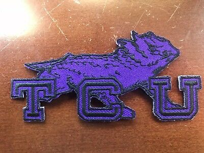 """TCU Texas Christian Horned Frogs Vintage Embroidered Iron On Patch NCAA 4"""" X 2"""""""