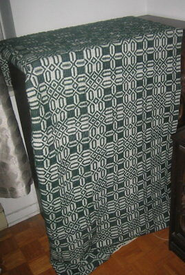 VINT. ANTIQUE 1800'S Wool Hand Woven Coverlet - GREEN EXCELLENT CONDITION