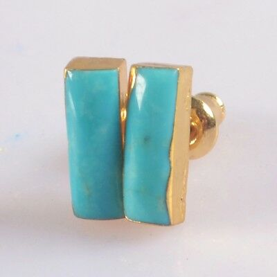 11x4mm Natural Genuine Turquoise Stud Earrings Gold Plated B076441