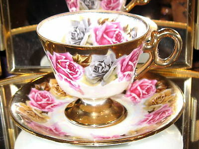 Royal Sealy PINK ROSES HVY GOLD Mother of Pearl Tea Cup and Saucer Footed Teacup