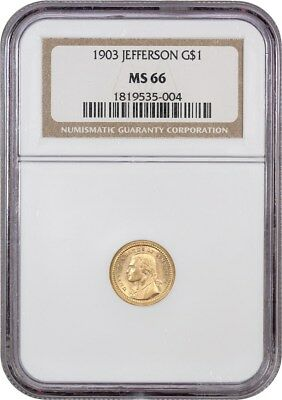 1903 Jefferson G$1 NGC MS66 - Popular Gold Commem - Popular Gold Commem