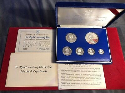 1977 British Virgin Islands Silver Jubilee All Silver Proof Set In Case With Coa