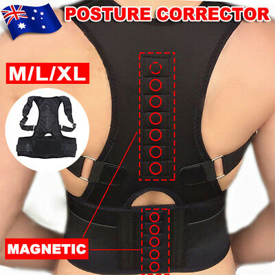 Posture Corrector Magnetic Back Support Belt Lumbar Lower Shoulder Brace ESM