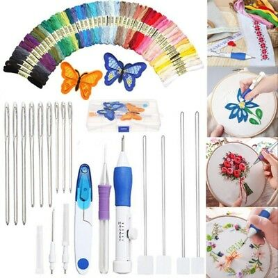 DIY Rostfreier Stahl Stickerei Stitching Punch Needle Set + 50 Farben Fäden Kit