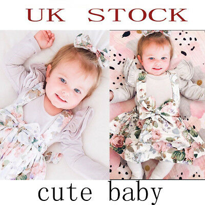 UK Stock Newborn 3pcs set  Cute Baby Girl Floral Clothes Romper Cotton Outfits