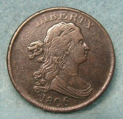 1806 DRAPED BUST HALF CENT Near XF ~ Rotated Reverse * US Coin