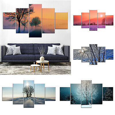 Winter Tree Canvas Print Painting Framed Home Decor Wall Art Poster 5Pcs