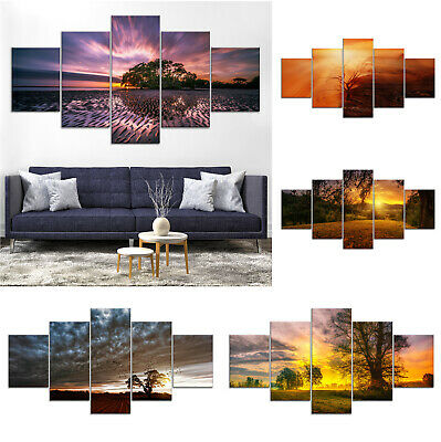 Trees Sunset Canvas Print Painting Framed Home Decor Wall Art Poster 5Pcs