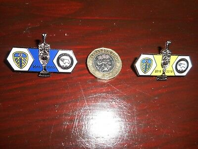 MATCHDAY PIN BADGE SET OF 2 : LEEDS UNITED   v  DERBY COUNTY  2018/19 ~ JAN 11th