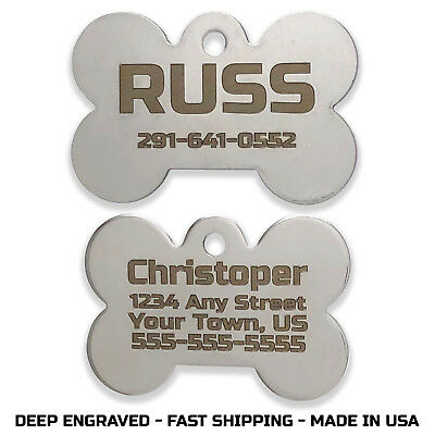 STAINLESS STEEL Pet Tag Bone Custom Engraved ID Name Personalized Dog Cat Tags