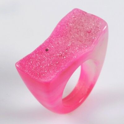 Size 7.5 Hot Pink Agate Druzy Geode Band Ring T071549